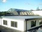 Narre Warren - An exterior view of the closed bi-parting barrel vault style retractable roof