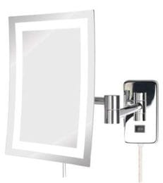 5x Wall Mounted LED Lighted Rectangular Magnifying Mirror Plug In