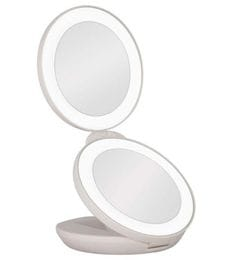 Dual LED Lighted Travel Mirror 1x & 10x Magnification, for your handbag.