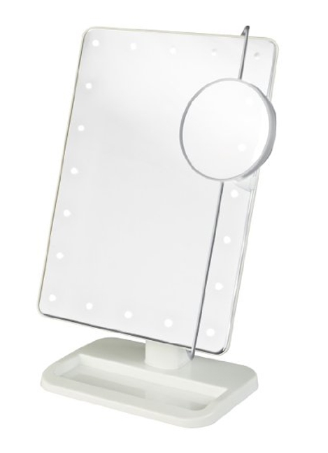 LED Lighted Portable Mirror with Adjustable 10X Magnification Spot Mirror