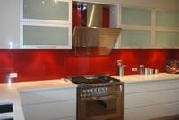 This Red Glass splashback was the perfect colour to complete this stunning kitchen! Gold Coast