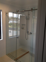 Opto Frameless sliding Shower Screen. Byron Bay.
