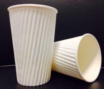 16 oz plain white ripple wall cup