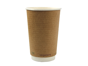 Double wall kraft eco friendly Compostable coffee cup 16 OZ