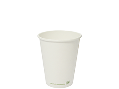 8oz white PLA-lined hot cup