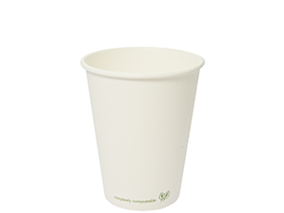 12oz white PLA-lined hot cup