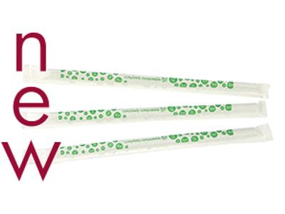 7mm wrapped PLA green stripe jumbo straw