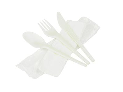 Compostable meal kit (6.5in knife, fork, spoon & napkin in bio film)