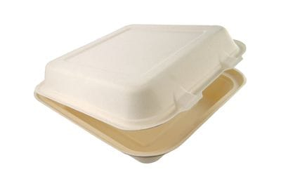 8in square bagasse lunch box (B026)