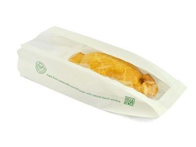 6x8.5x10in white glassine natureflex hot bag
