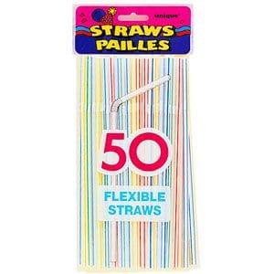 50 Flexi Straws - Multicolour Striped