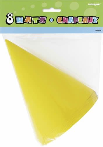 8 Party Hats - Yellow