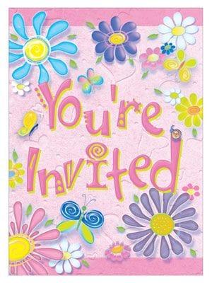 Birthday Flower Invitations 8 Pack