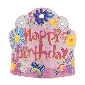 Birthday Flower Party Tiaras 8 Pack