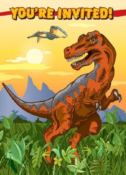 Dino Times Invitations 8 Pack