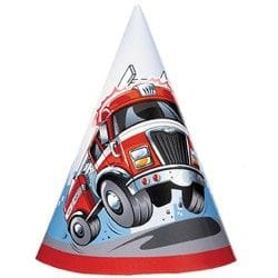 Fire Engine Party Hats 8 Pack