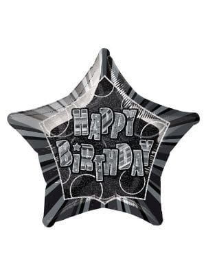 Glitz Black Happy Birthday Star Foil