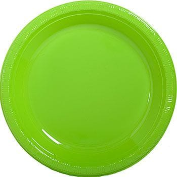 "Lime Green 12 x 7"" Plastic Plates"