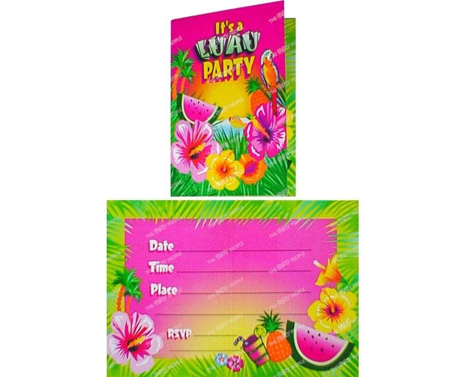 Luau Party Invitations 8 pk