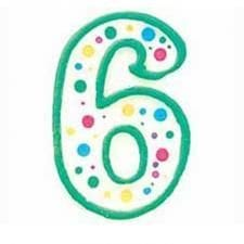 Number 6 Birthday Candle Green