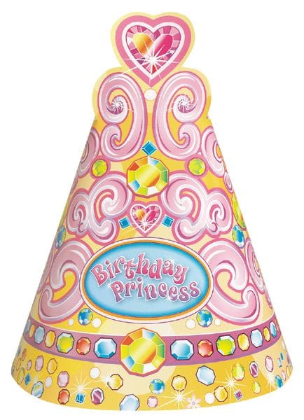 Pretty Princes Party Hats 8 Pack
