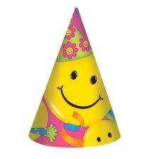 Smiley Star Party Hats 8pk