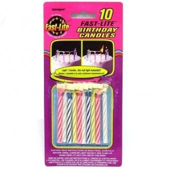 10 Fast-Lite Candles - Assorted Colours