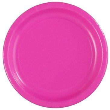 "Hot Pink 12x7"" Plastic Plates"