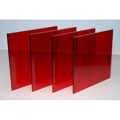 A4 Size Acrylic 210 x 297 x 3mm Red Tint Transparent Red CAST Sheet