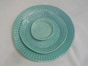 Straight sided doily dinner plate, side plate and dish.
