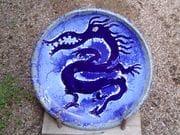 Dragon platter in cobolt and white glaze