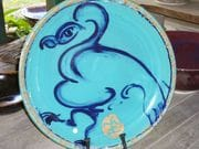 Brush turkey platter in aqua glaze