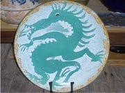 Dragon platter in glossy aqua and white glaze