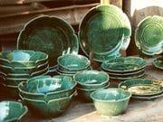Lotus leaf dinner ware in dark green