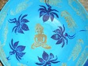 Buddah and lotus platter in turquoise