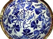 Dragonfly and lotus bowl in blue and white with iron oxide rim