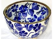 Hibiscus bowl in blue and white with iron oxide rim