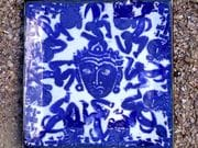 Buddha face and dancing figure square dinner plate in blue and white
