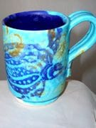 Expresso cup with turtle design in turquoise