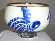 Turtle teabowl in blue and white with iron oxide rim