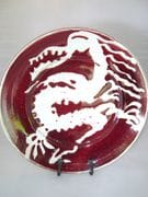 Dragon platter in ox blood and shino glaze