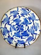 Turtle platter in blue and white