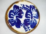 Hibiscus dish in blue and white with iron oxide rim