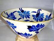 Lotus straight sided bowl in blue and white with iron oxide rim