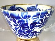 Turtle bowl in blue and white with iron oxide rim
