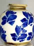 Lotus flower blue and white screw top jar
