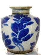 Lotus flower 2 blue and white screw top jar