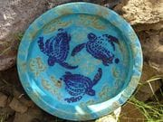 Turquoise turtle large plate.