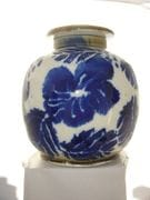 Large cobalt/white screw top jar.