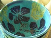 Turquoise bowl with cobalt hibiscus.